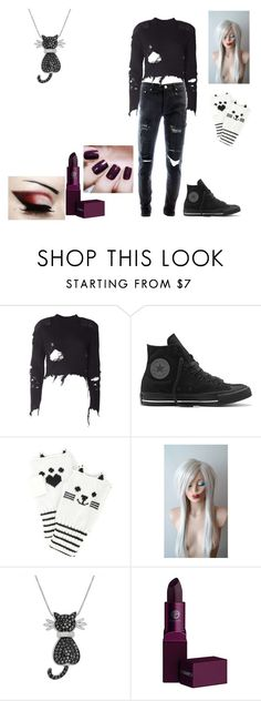 """Emo outfit #111"" by in-seva on Polyvore featuring adidas Originals, Converse, Forever 21, Amanda Rose Collection, Lipstick Queen and Black Orchid"