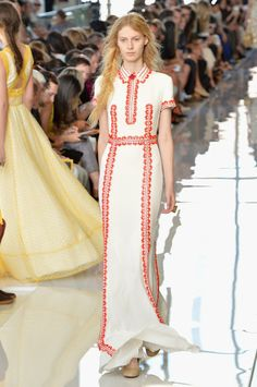 Johanna Payton - Fashion Detective: Key trends: New York Fashion Week SS13: At first glance, this Tory Burch SS13 maxi dress is straightforward - but look closer for all kinds of influences (Native American, peasant chic, vintage 70s, tribal...) (Photo by Slaven Vlasic/Getty Images for Mercedes Benz)