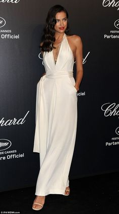Old Hollywood style: Irina Shayk looked stunning as she arrived for the Chopard party on a yacht docked in Cannes' port