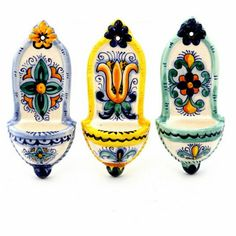 TOSCANA: Mini Holy Water holders (Set of three ) (Pre holed for easy wall-hung Ceramic Fish, Glass Ceramic, Talavera Pottery, Ceramic Pottery, Catholic Art, Religious Art, Water Font, Ornaments Design, Hand Painted Ceramics