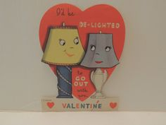 "Vintage Valentine Card Lamps Lampshades "" de Lighted Unused Anthropomorphic 