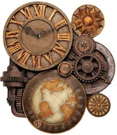 Gears of Time Wall Clock by Design Toscano.    Cast in quality designer resin Hand painted Design Toscano exclusive by Alberto Batani Accepts AA battery 15″W x 2″D x 17 1/2″H  #Steampunkclock
