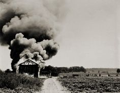 Burning Tobacco Barn, Rocky Mount, North Carolina  photo by Rosalie Gwathmey, 1943