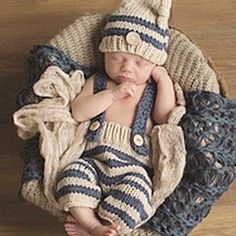 ad9cc0f43b5d1 ... directly from China beanie bear Suppliers  Newborn Baby Photography  Props Infant Knit Crochet Costume Blue Striped Soft Outfits Elf Button  Beanie+Pants