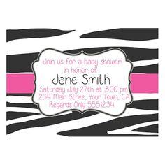 Pink Zebra Print Baby Shower Invitation ~ includes free registry insert!