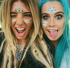 Festival Make Up Festival Looks, Festival Make Up, Rave Festival, Festival Paint, Swag Style, Festival Outfits, Festival Fashion, Coachella, Make Carnaval