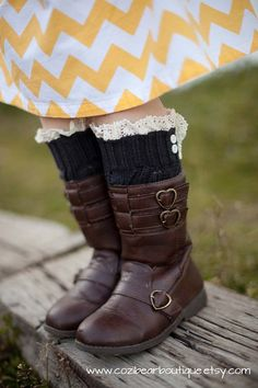 Girls Open Knit Leg Warmers with Vintage Cream Lace in Charcoal-Love the boots and little leg warmers!!!