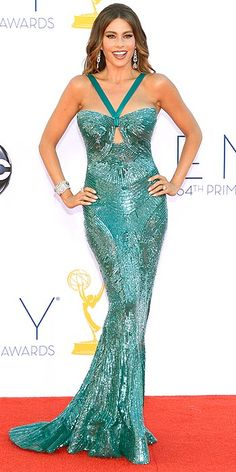 Sofia Vergara looks like a sexy mermaid, obviously. All she needs is a crustacean sidekick. #emmys