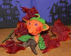 Halloween Figur Pumpkinhead,Kürbiskopf,handgefertigt aus Polymer Clay,Polymer Clay Figur,Fantasy Charakter,Polymer Clay Art von Luthiannasworld auf Etsy
