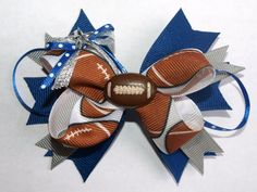 football hair bow perfect accessory for watching by mylittlebows, $8.00