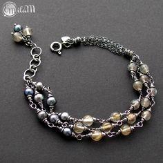 emilaM, bransoletka, srebro, labradoryt, kwarc rutylowy,perły