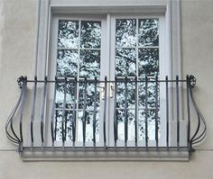Italian design, forged steel scored baluster balcony. 42' height. Powder-coated.