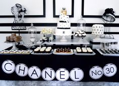 """""""Chanel #30"""" Birthday Party by """"Oh Sugar Events"""" -- so beautiful.  Chocolate-covered pretzels with the """"C"""" and """"Backwards C"""" logo!  Very clever!!"""