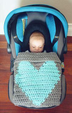 Crochet Heart Love Blanket Throw Baby Unisex Home by CrochetSavy
