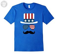 Mens USA Hat Glasses And Mustache Funny 4th of July T-shirt Medium Royal Blue - Funny shirts (*Amazon Partner-Link)