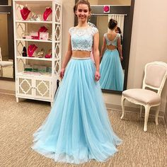 Blue Lace Spliced A-line Two Pieces Chiffon Prom Dresses 2017