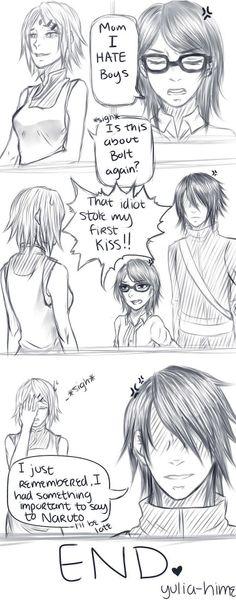 Sasuke, Sakura, and Sarada...uh oh Bolt is in biggggggggggggggggggggggg trouble
