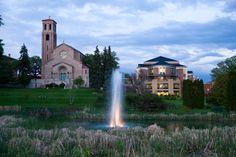 St. Catherine University and Dew Drop Pond. (Photo by Rebecca Zenefski '10)