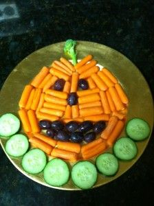 Healthy Halloween DIY Pumpkin Vegetable Tray