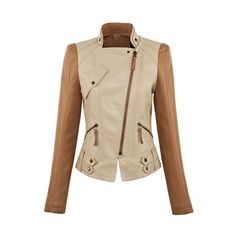 Western Style All Match Short Patchwork Leather Jacket