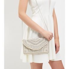 New Look Cream Bead Embellished Envelope Clutch ($27) ❤ liked on Polyvore featuring bags, handbags, clutches, oatmeal, cream purse, beaded handbag, envelope clutch bag, white beaded purse and beaded purse