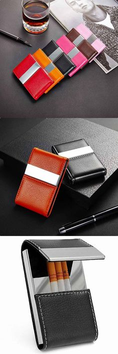 New Stainless Steel PU Leather Holder Business Name Credit Card Cigarette Case