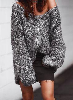 oversized sweater + denim skirt//pinterest: juliabarefoot