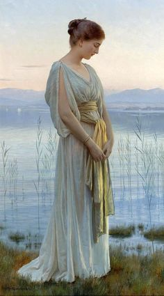 Max Nonnenbruch - Evening by the Lake, art, painting, classical art Classic Paintings, Beautiful Paintings, Fine Art Paintings, European Paintings, Art And Illustration, Art Amour, Inspiration Art, Classical Art, Classical Elements