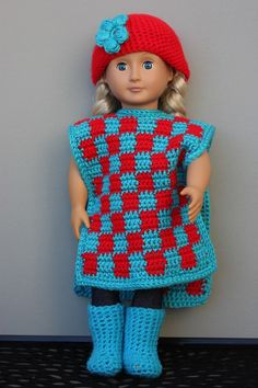 Checkerboard Poncho With Matching Hat & Boots