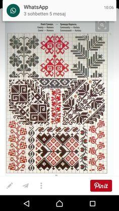 Patterns from Bukowina Cross Stitch Geometric, Cross Stitch Borders, Cross Stitch Charts, Cross Stitch Patterns, Folk Embroidery, Cross Stitch Embroidery, Embroidery Patterns, Chicken Scratch Embroidery, Cross Stitch Freebies