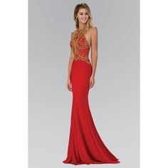 Elizabeth K GL1301P Open Back Contrast Bead Embellished Halter Neck... ($258) ❤ liked on Polyvore featuring dresses, gowns, red halter top, jersey gown, beaded evening dresses, halter top and red halter dress