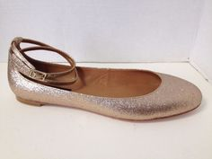 Ann Taylor Shoes Womens Size 8 M Gold Ballet Flats 8M Ankle Strap #AnnTaylor #BalletFlats #Party