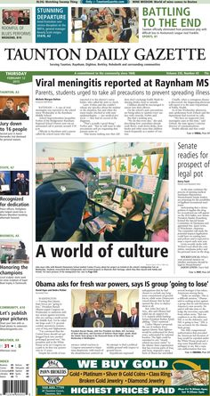 The front page of the Taunton Daily Gazette for Thursday, Feb. 12, 2015.