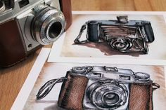 Vintage camera print set x 2 retro illustration, stocking stuffer, christmas gift, for him