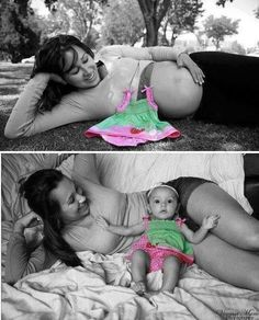 Before and After baby picture... this is such a cute idea!