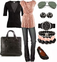 Spring Outfits | Polkadots  Monsoon cardigan, H&M top dress, 7 For All Mankind Jeans, Lanvin flat shoes, CHANEL bag, watch, Ray Ban sunglasses  by eblair1982