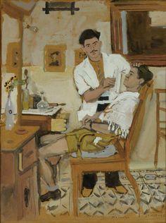 "grundoonmgnx: "" Yannis Tsarouchis, The Barber, 1946 "" Greece Painting, Art Of Man, Greek Art, Gay Art, Illustrations, Caravaggio, Artist Painting, Urban Art, Figurative Art"