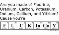 Maybe instead of Gallium and Yttrium, Barium and Iodine would make more sense for me at least I.e. F.U.C.K.In.B.I