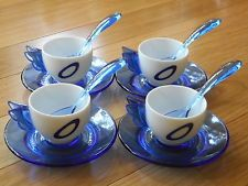 Fratelli Guzzini Italy Blue White Demitasse Cappucino Cup Saucer Spoon Set of 4