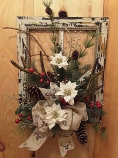 Fantastic Christmas deco detail are available on our web pages. Check it out and you wont be sorry you did. Picture Frame Wreath, Christmas Picture Frames, Picture Frame Crafts, Christmas Pictures, Christmas Wreaths To Make, Rustic Christmas, Christmas Projects, Christmas Fun, Christmas Decorations