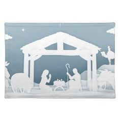 Nativity Christmas Scene Paper Art Style Placemat - paper gifts presents gift idea customize