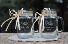 Monogrammed Mason Jar Mugs, Weddings, Anniversaries, Engagement Gift, Fast Shipping. $28.00, via Etsy.