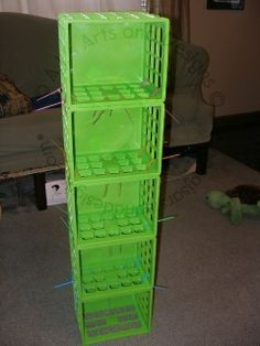plastic crates zip tied together and hung in closet to store folded clothes - sturdier than the fabric ones