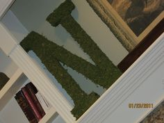 Wooden letter covered in sheet moss