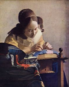 My mother is Belgian and lace bobbins were a common object in my home. I love the quiet, calm concentration of Vermeer's Lacemaker at the Louvre and stop by to say hello any chance I get.