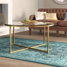 Zara Coffee Table with Tray Top Table Base Color: Goldtone Stone Coffee Table, Glass Top Coffee Table, Lift Top Coffee Table, Cool Coffee Tables, Coffee Table With Storage, Round Coffee Table, Modern Coffee Tables, Round Dining, Accent Furniture