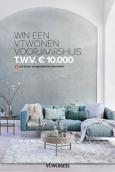 Take part in the spring house promotion 2019 Blue And Grey Living Room, Spring Home, Home Staging, Home Living Room, Decorating Your Home, Sweet Home, Room Decor, Interior Design, House Styles