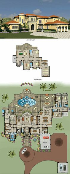 House Plan 71539 - Florida, Mediterranean Style House Plan with 9639 Sq Ft, 5 Bed, 8 Bath, 5 Car Garage House Plans Mansion, Garage House Plans, Luxury House Plans, Dream House Plans, Modern House Plans, House Floor Plans, 5 Car Garage, Luxury Floor Plans, Luxury Modern Homes