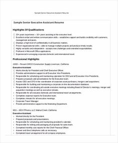 Executive Assistant Resume Is Made For Those Professional Who Are