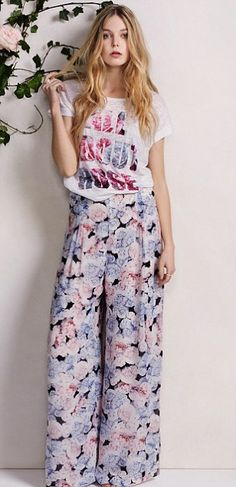Dorothy Perkins: There are plenty of floral wide leg trousers and casual tees on offer